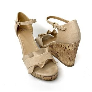 TIME AND TRU Tan Vegan Suede Wedge Sandals Ruffles
